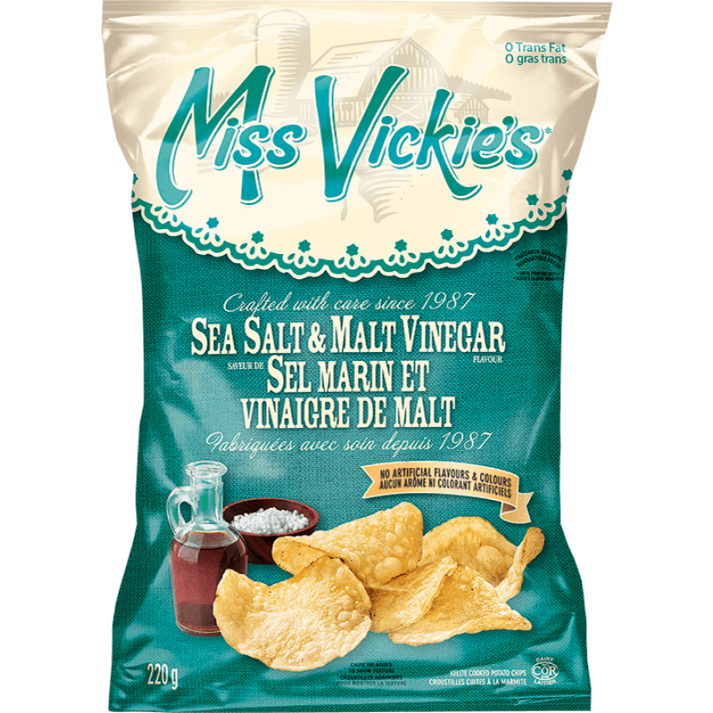 Miss Vickie's Sea Salt & Malt Vinegar Kettle Cooked Potato Chips 550 g