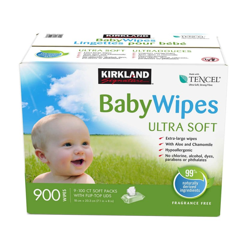 Kirkland Signature Tencel Baby Wipes  9/100 Count