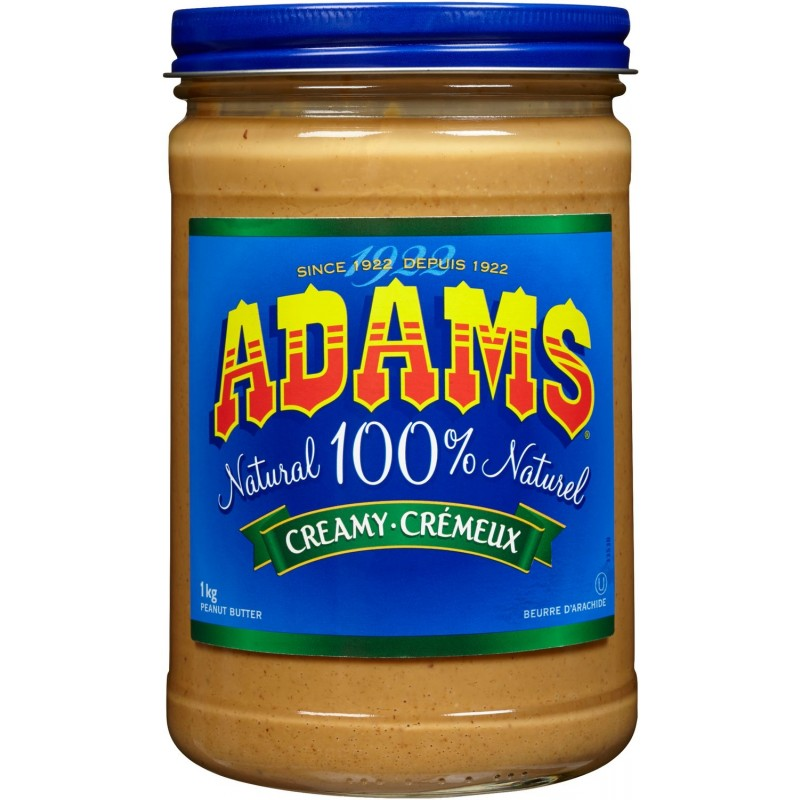 Adams 100% Natural Creamy Peanut Butter - 1 Kg