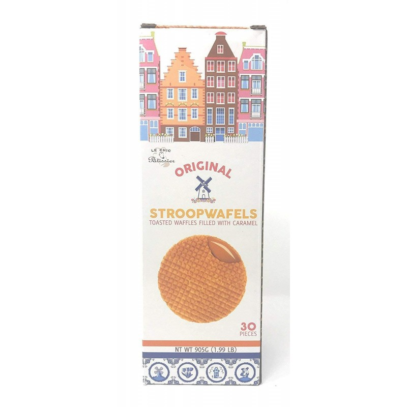 Le Chic Original Stroopwafels - Toasted Waffles Filled with Caramel - 945 Grams