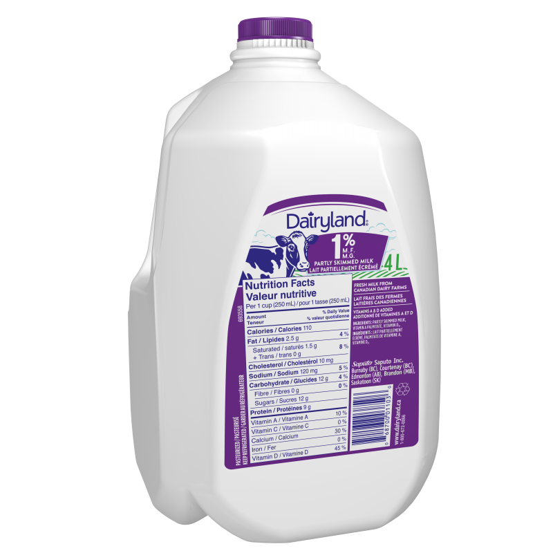 Dairyland 1% Partly Skimmed Milk 4 Litre Jug