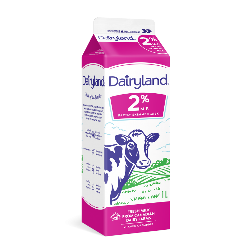 Dairyland 2% Partly Skimmed Milk 1 Litre Carton