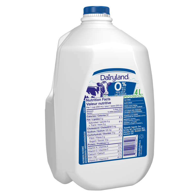 Dairyland Fat Free Skim Milk - 4 Litre Jug