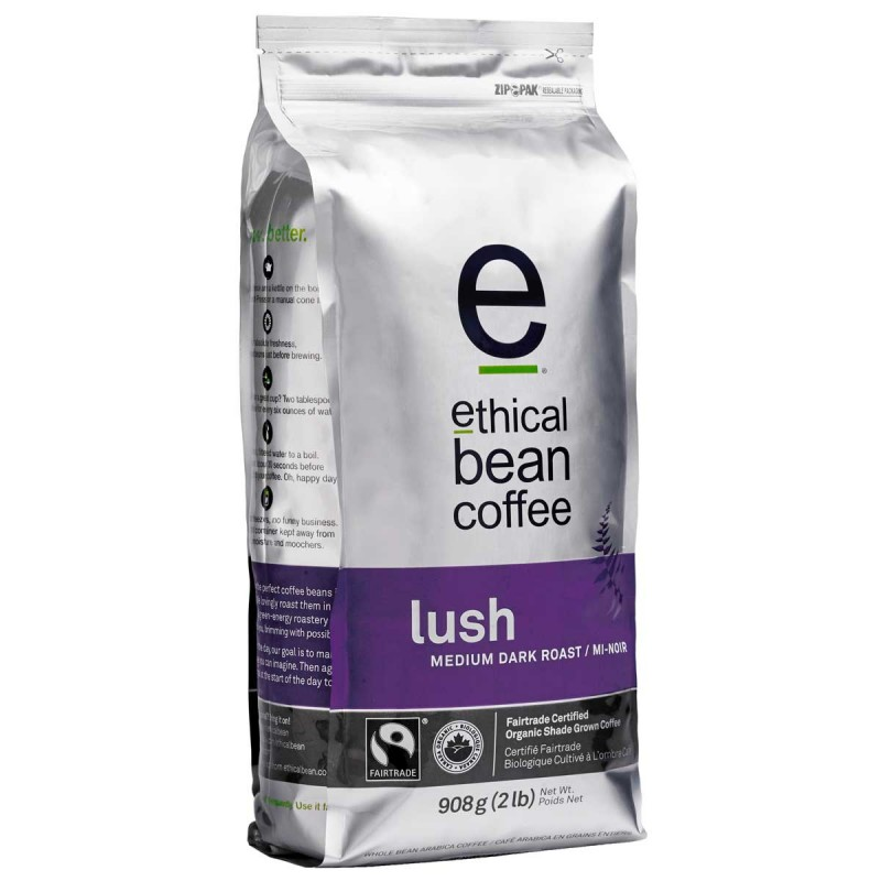 Ethical Bean Medium Dark Roast Whole Bean Coffee - Lush - 908 Grams (2 lb)