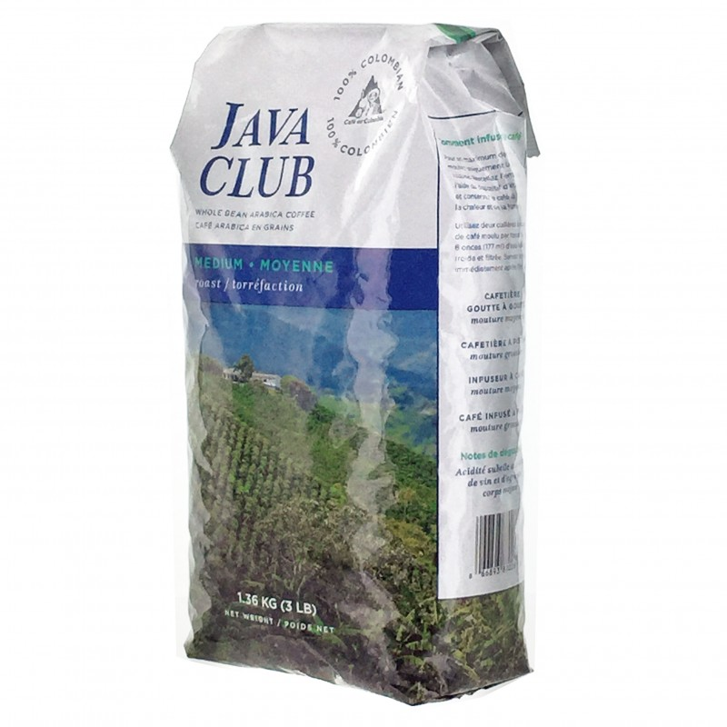 Java Club Whole Bean Coffee - 100% Colombian - 1.36 Kg (2.99 lb)