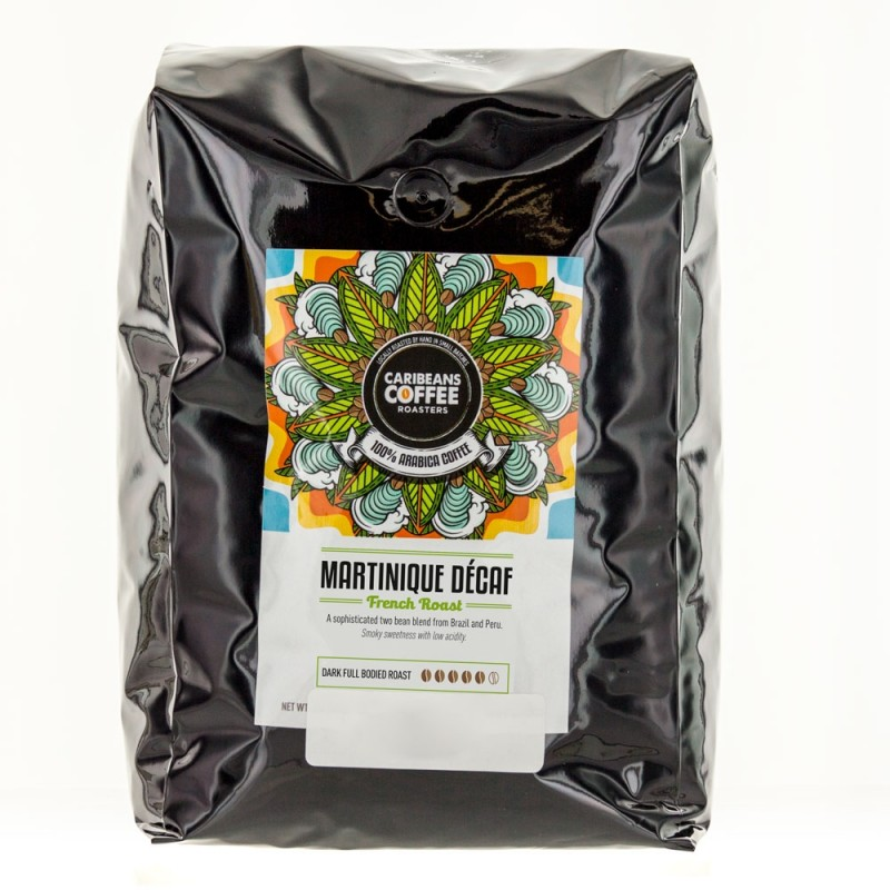 Caribeans Coffee Whole Bean Martinique French Roast Decaf - 2.27 Kg (5 lb)