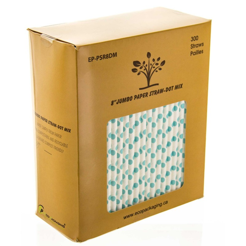 Compostable Jumbo Paper Unwrapped Straws - Dot Mix - 8 Inch - 300/Box