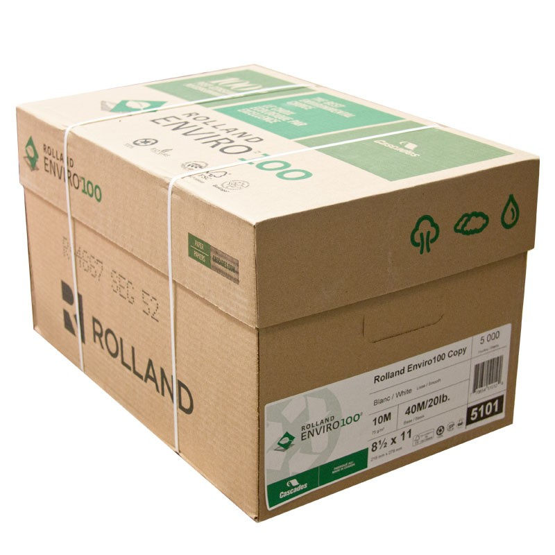 Rolland Enviro Copy 100% Recycled Paper - Letter - 8.5 x 11 - 5000/Carton