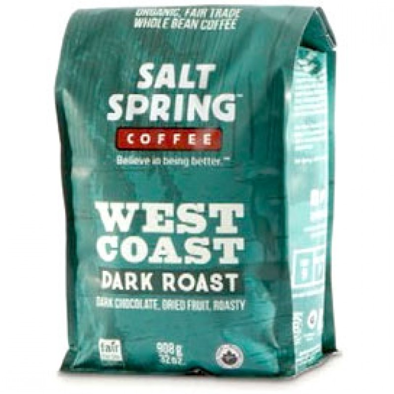 Salt Spring Coffee Organic Fair Trade Coffee Beans - West Coast Blend - 908 Grams (2 lb)