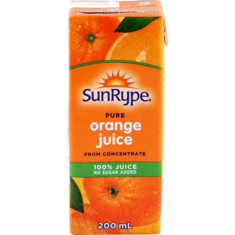 Sunrype Pure Orange Juice Drink Boxes 40/200mL