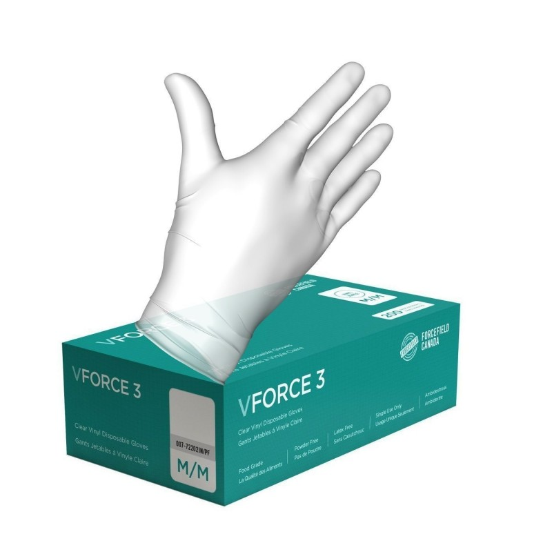 Vinyl Disposable Clear Medical Grade Gloves - Large - 100/Pack