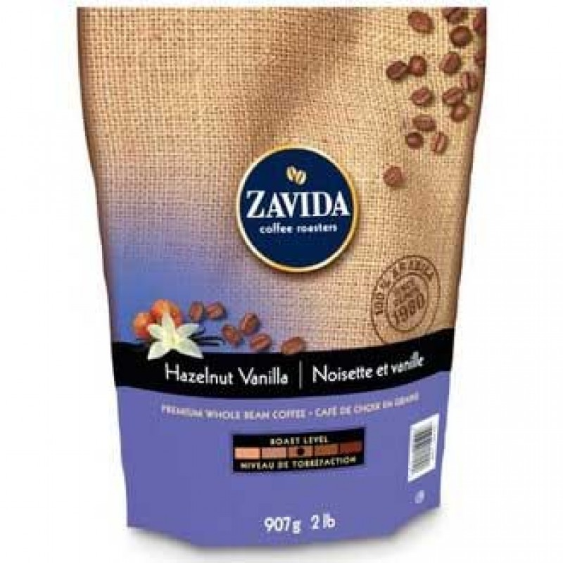 Zavida Whole Bean Coffee - Hazelnut Vanilla - 908 Grams (2 lb)